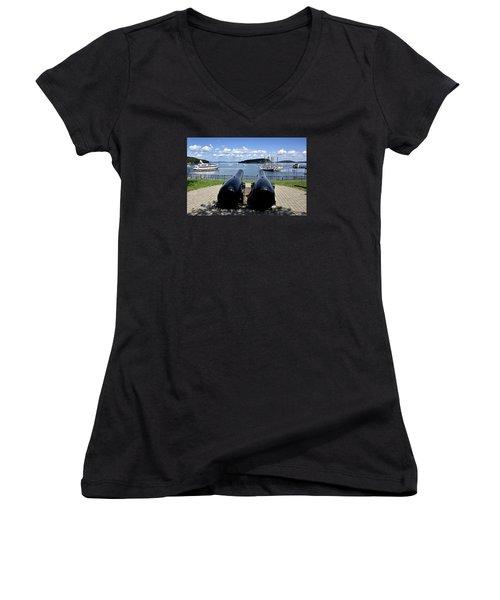 Bar Harbor - Maine - Canons At Agamont Park Women's V-Neck T-Shirt (Junior Cut) by Brendan Reals