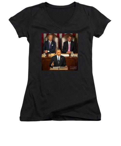 Barack Obama 2015 Sotu Address Women's V-Neck T-Shirt (Junior Cut) by Science Source