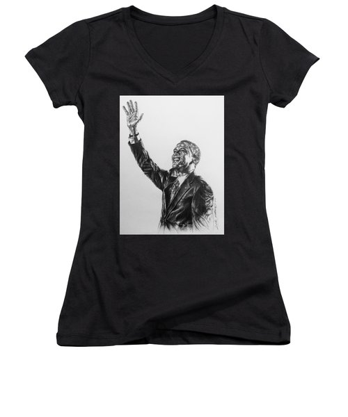 Women's V-Neck T-Shirt (Junior Cut) featuring the painting Barack Obama by Darryl Matthews