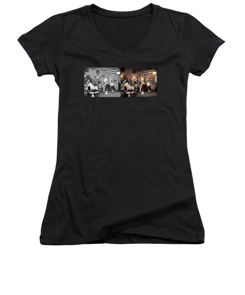 Women's V-Neck T-Shirt (Junior Cut) featuring the photograph Barber - Senators-only Barbershop 1937 - Side By Side by Mike Savad
