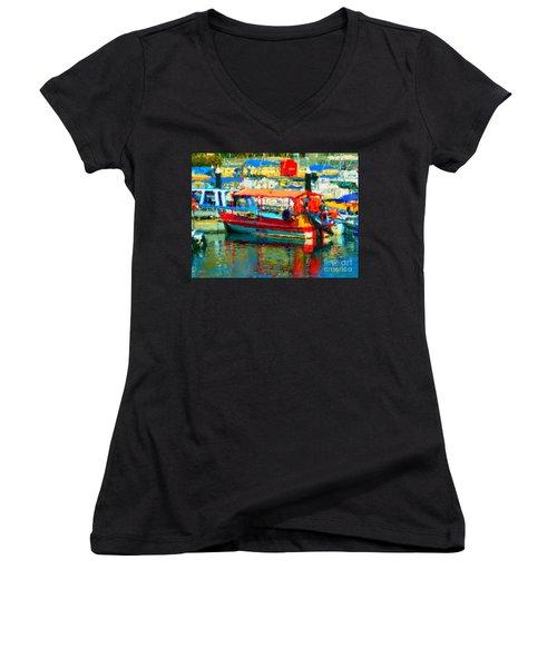 Barco En Cabo Marina Women's V-Neck T-Shirt (Junior Cut)