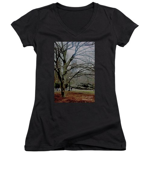 Bare Tree On Walking Path Women's V-Neck T-Shirt