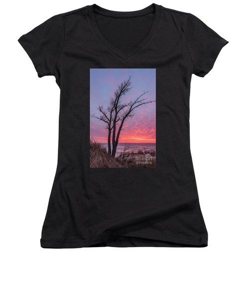 Bare Trees Overlooking A Beautiful Sunset Women's V-Neck