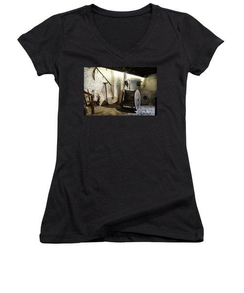 Women's V-Neck T-Shirt (Junior Cut) featuring the photograph Barley Warehouse At Lockes Distillery by RicardMN Photography