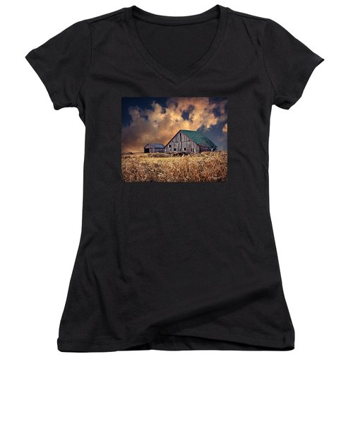 Barn Surrounded With Beauty Women's V-Neck T-Shirt (Junior Cut) by Kathy M Krause