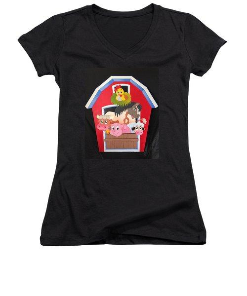 Barn With Animals Women's V-Neck T-Shirt (Junior Cut) by Brenda Bonfield