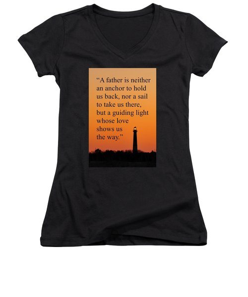 Barnegat Lighthouse With Father Quote Women's V-Neck