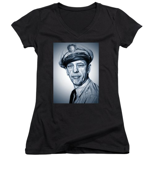 Barney Fife Women's V-Neck T-Shirt (Junior Cut) by Fred Larucci