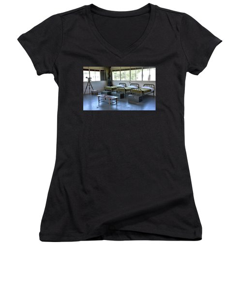Women's V-Neck T-Shirt (Junior Cut) featuring the photograph Barrack Interior At Fort Miles - Delaware by Brendan Reals