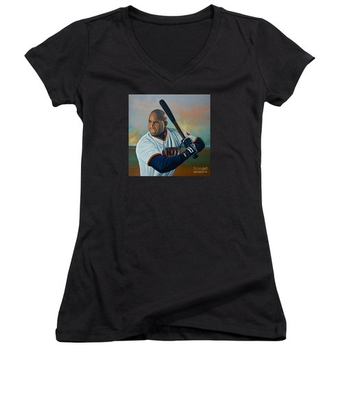 Barry Bonds Women's V-Neck T-Shirt (Junior Cut) by Paul Meijering