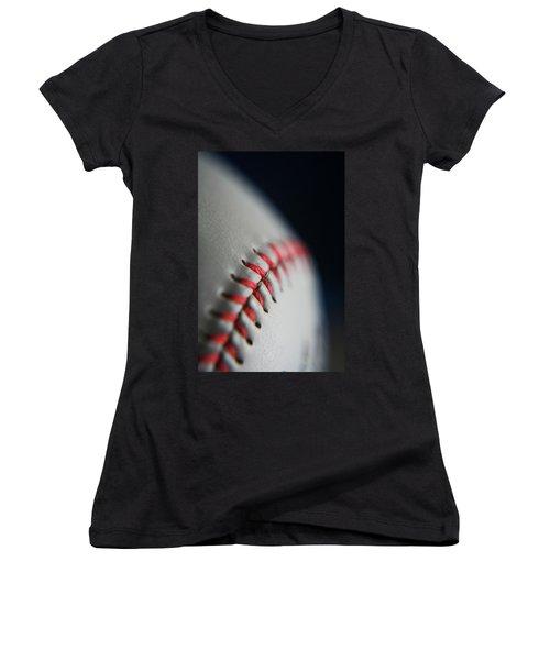 Baseball Fan Women's V-Neck T-Shirt (Junior Cut) by Rachelle Johnston
