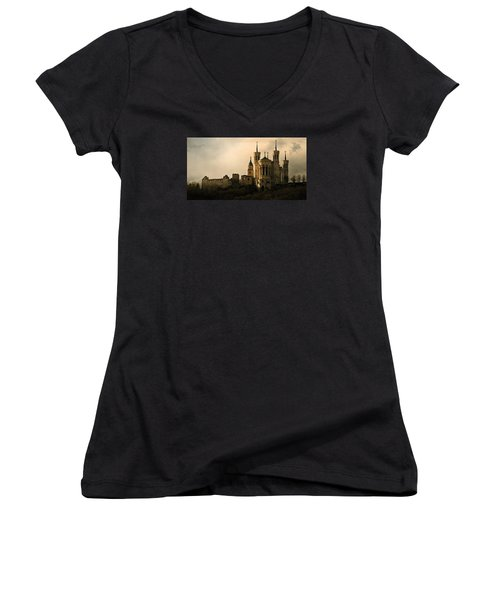 Women's V-Neck T-Shirt (Junior Cut) featuring the photograph Basilica Of Our Lady Of Fourviere  by Katie Wing Vigil