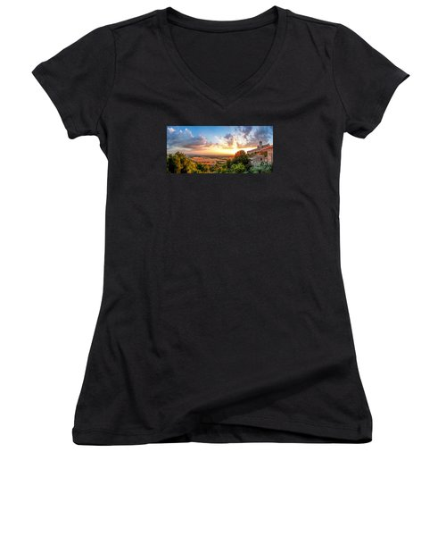 Basilica Of St. Francis Of Assisi At Sunset, Umbria, Italy Women's V-Neck T-Shirt