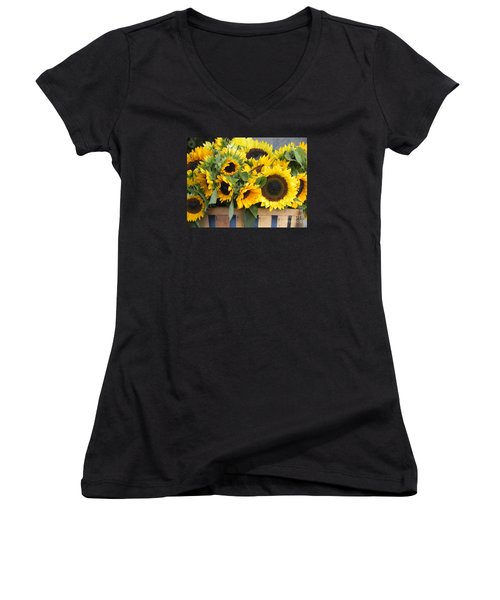 Women's V-Neck T-Shirt (Junior Cut) featuring the photograph Basket Of Sunflowers by Chrisann Ellis