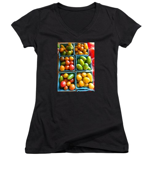 Baskets Of Baby Tomatoes Women's V-Neck T-Shirt (Junior Cut) by Dee Flouton