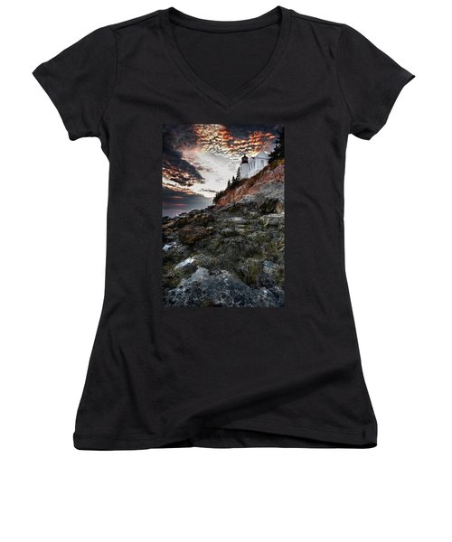 Bass Harbor Light Women's V-Neck (Athletic Fit)