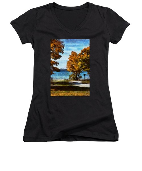 Bass Lake October Women's V-Neck T-Shirt