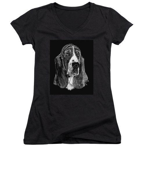 Women's V-Neck T-Shirt (Junior Cut) featuring the drawing Basset Hound by Rachel Hames