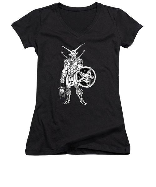 Battle Goat Black Women's V-Neck T-Shirt (Junior Cut) by Alaric Barca