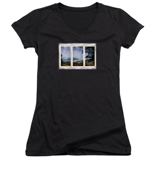 Bay Area Women's V-Neck T-Shirt (Junior Cut) by Judy Wolinsky