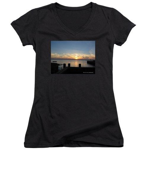 Bay Sunset Women's V-Neck T-Shirt (Junior Cut) by Nance Larson