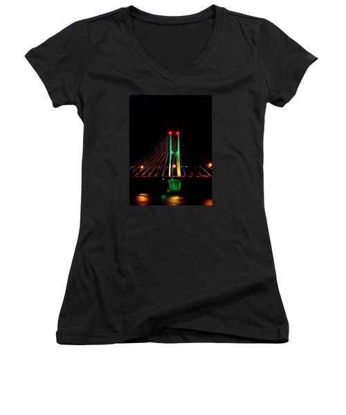 Bay View Christmas Lights Women's V-Neck T-Shirt (Junior Cut) by Justin Moore