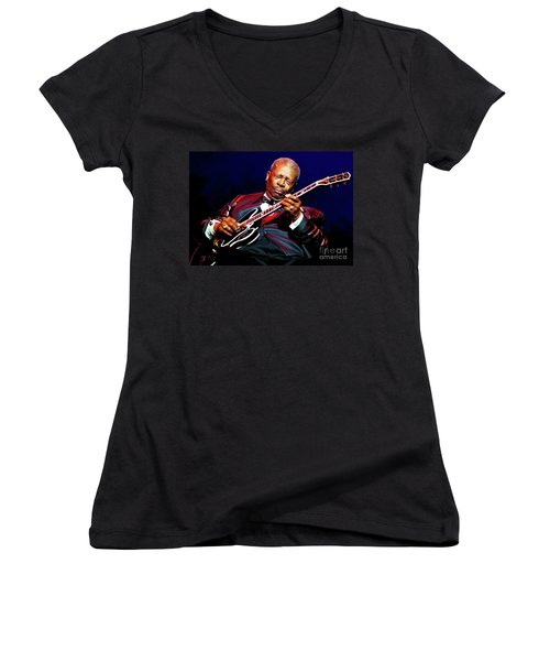 Bb King Women's V-Neck T-Shirt (Junior Cut) by Paul Tagliamonte