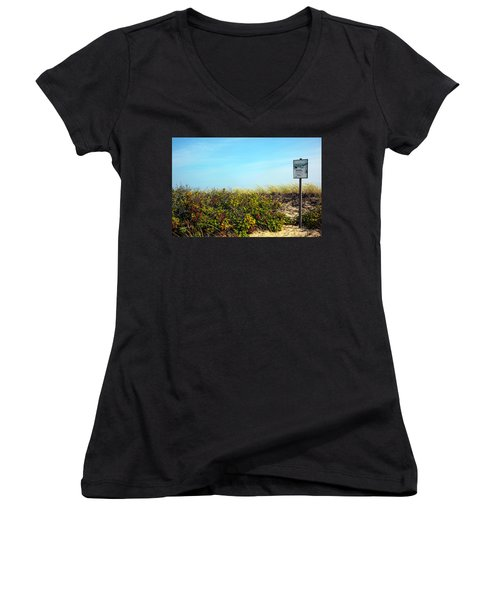 Women's V-Neck T-Shirt (Junior Cut) featuring the photograph Be Kind To The Dune Plants by Madeline Ellis