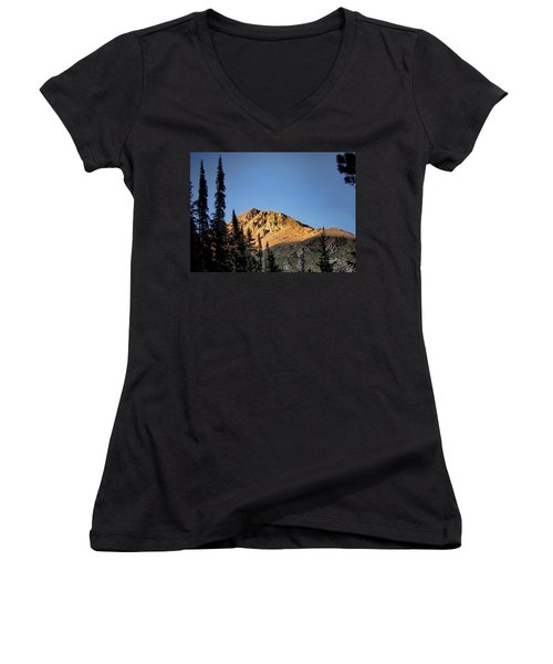 Women's V-Neck T-Shirt (Junior Cut) featuring the photograph Be Still Like A Mountain ... by Jim Hill