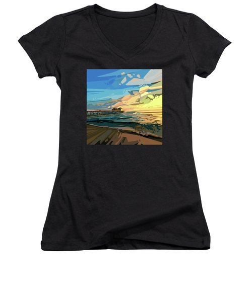 Beach Women's V-Neck T-Shirt (Junior Cut) by Bekim Art
