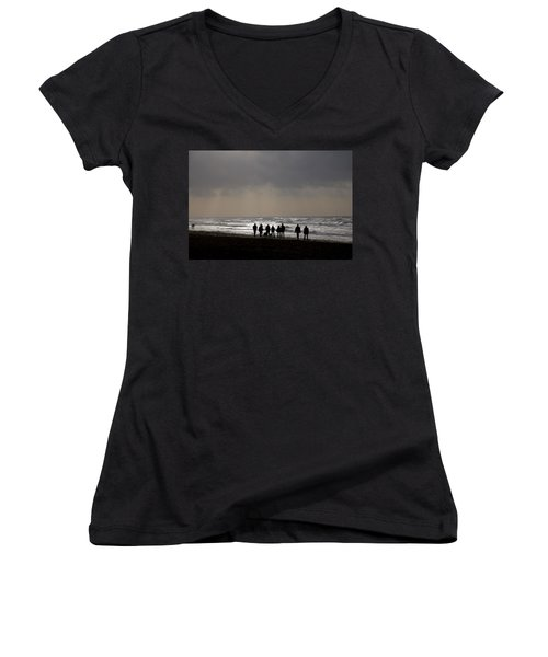 Beach Day Silhouette Women's V-Neck (Athletic Fit)
