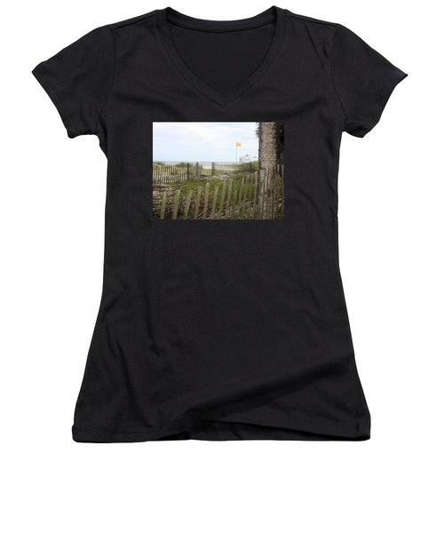 Beach Fence On Hunting Island Women's V-Neck T-Shirt (Junior Cut) by Ellen Tully