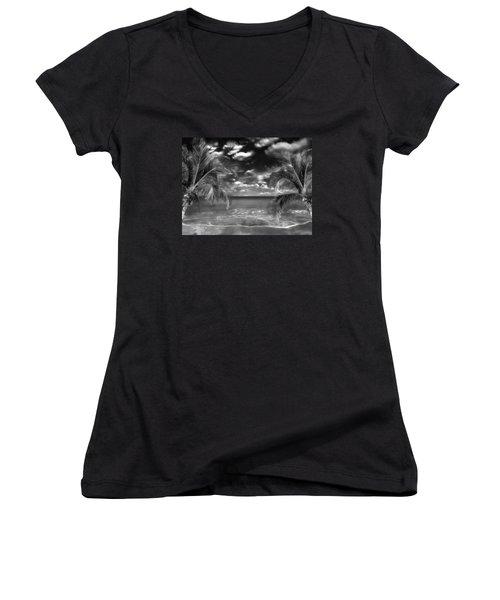 Women's V-Neck T-Shirt (Junior Cut) featuring the mixed media Beach Of Forgotten Colours by Gabriella Weninger - David