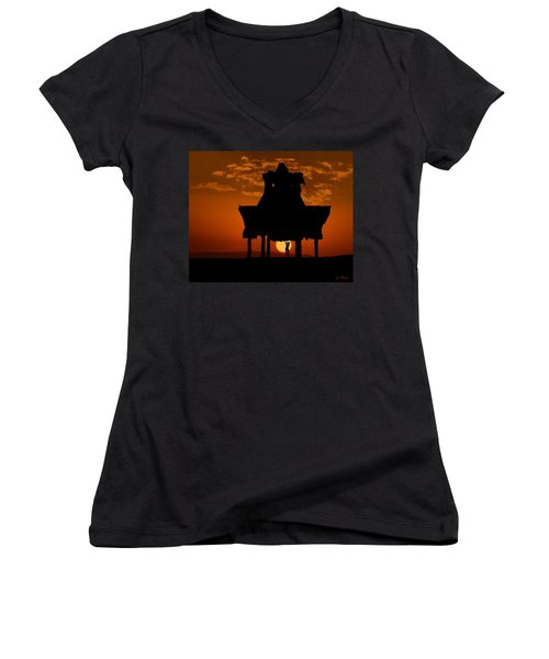 Women's V-Neck T-Shirt (Junior Cut) featuring the photograph Beach Shelter At Sunset by Joe Bonita