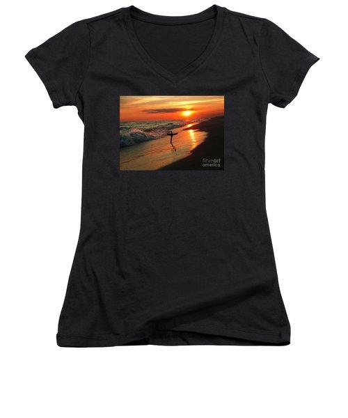 Beach Sunset And Cross Women's V-Neck T-Shirt (Junior Cut) by Luana K Perez