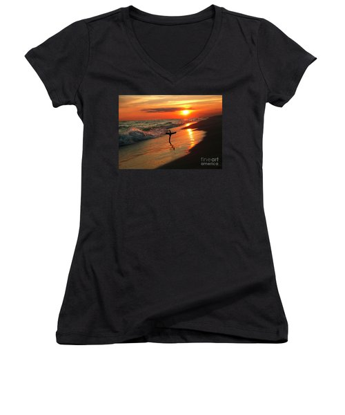 Beach Sunset And Cross Women's V-Neck T-Shirt