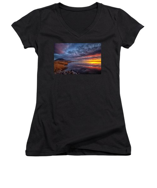 Women's V-Neck featuring the photograph Bear Butte Lake Sunrise by Fiskr Larsen