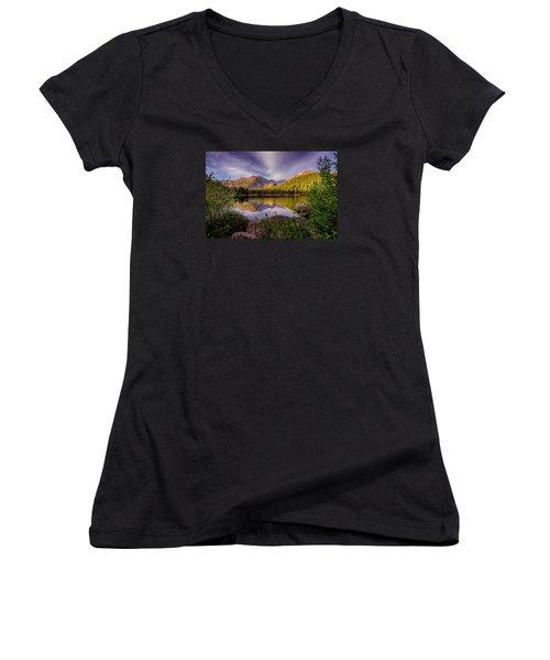 Bear Lake 2 Women's V-Neck T-Shirt (Junior Cut) by Mary Angelini