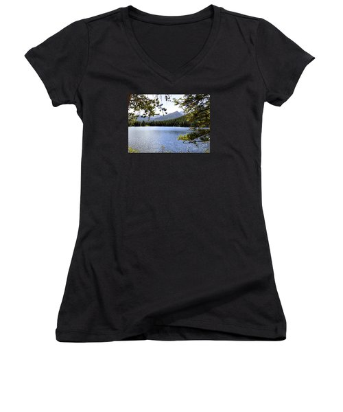 Women's V-Neck T-Shirt (Junior Cut) featuring the photograph Bear Lake Rmnp by Nava Thompson