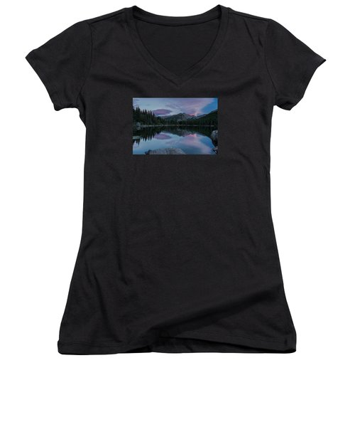 Bear Lake Sunset Women's V-Neck T-Shirt (Junior Cut) by John Vose