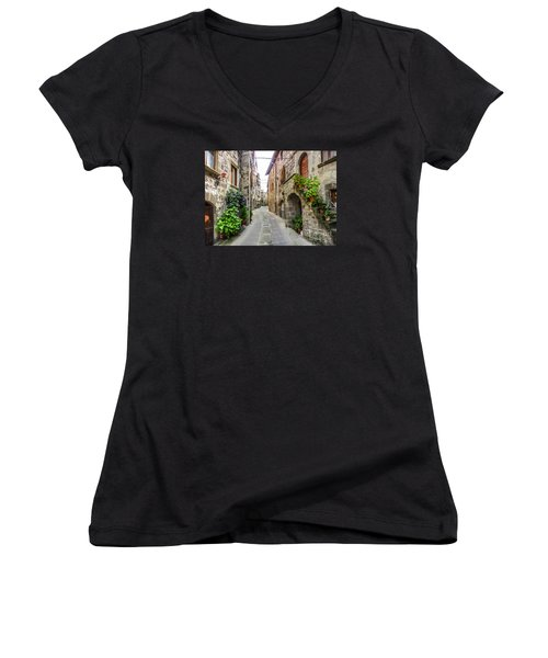 Beautiful Alleyway In The Historic Town Of Vitorchiano, Lazio, I Women's V-Neck T-Shirt (Junior Cut) by JR Photography