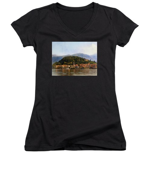 Women's V-Neck T-Shirt (Junior Cut) featuring the photograph Beautiful Bellagio by Jacqi Elmslie