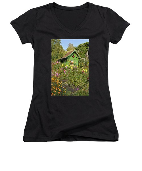 Beautiful Colorful Flower Garden Women's V-Neck (Athletic Fit)