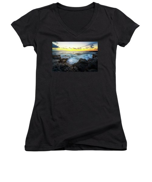Women's V-Neck T-Shirt (Junior Cut) featuring the photograph Beautiful Ending by Ryan Manuel