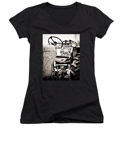 Beautiful Oliver Row Crop Old Tractor Women's V-Neck T-Shirt (Junior Cut) by Marilyn Hunt