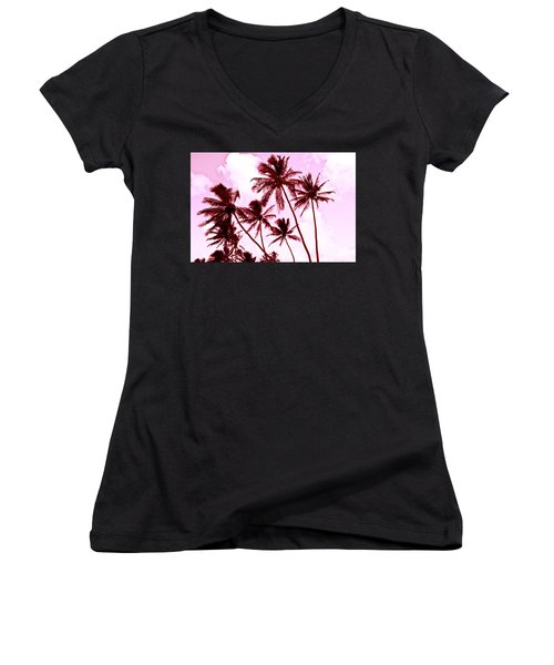 Beautiful Palms Of Maui 13 Women's V-Neck T-Shirt (Junior Cut) by Micah May
