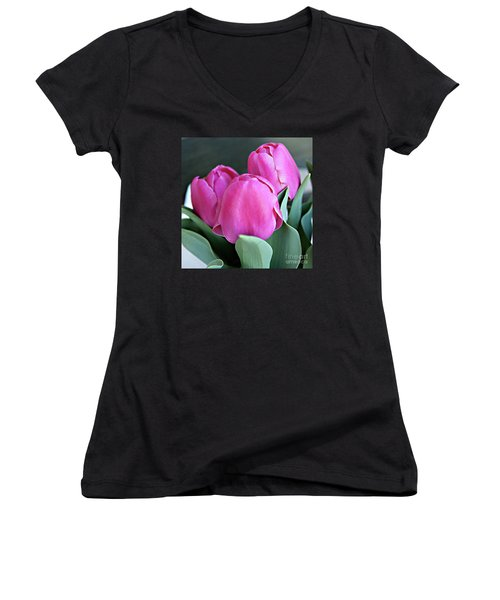 Beautiful Pink Lipstick Women's V-Neck (Athletic Fit)