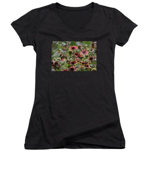 Beautiful Purple And Yellow Wildflowers Women's V-Neck (Athletic Fit)