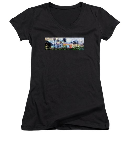 Beautiful South Beach Watercolor Women's V-Neck (Athletic Fit)