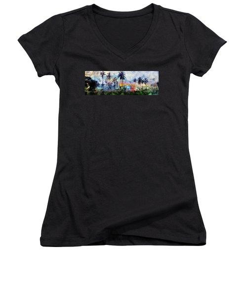 Beautiful South Beach Watercolor Women's V-Neck T-Shirt